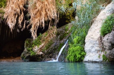 David Cave in rocks of Ein Gedi near Dead Sea